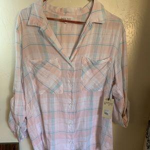Bella Dahl Button sown high-low plaid blouse NWT